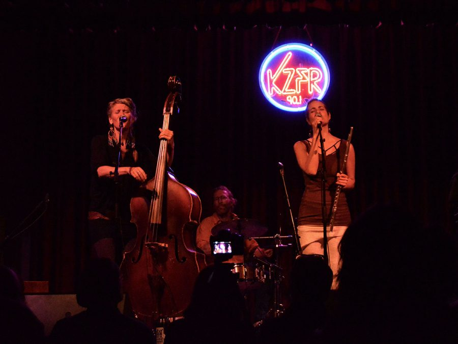 Sarah Nutting and Karisha Longaker of MaMuse displayed their artistic talents and songs with instruments like a cello and flute Photo credit: Olyvia Simpson