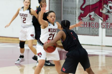 Shay Stark helping the Wildcats on defense and with the flow of the game against Cal State East Bay, on Saturday, Dec. 8, 2018. Photo credit: Maury Montalvo