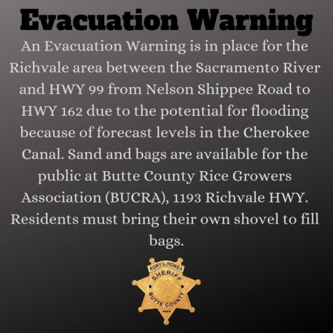 Evacuation Warning courtesy of @ButteSheriff on Twitter Photo credit: Butte County Sheriff