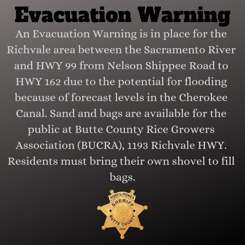 Evacuation Warning courtesy of @ButteSheriff on Twitter Photo credit: Butte County Sheriff's Office