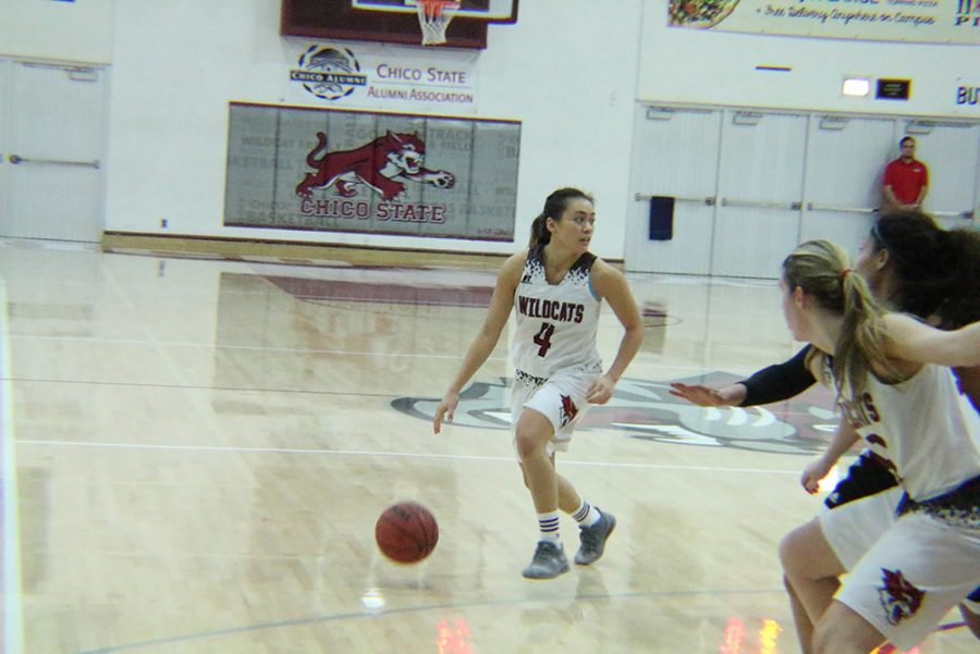 Natalie Valenzuela shoots the layup against Humboldt State Photo credit: Mathew Boe