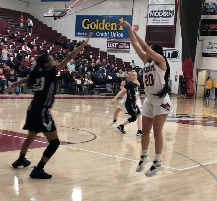 Myli Martinez shooting one of her two made threes against Cal State San Bernadino Thursday night. Photo credit: Ricardo Tovar