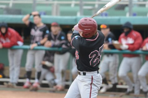 On Sunday against UC San Diego Dustin Miller (25) had an RBI triple in the first inning. Image Courtesy: Sports Information