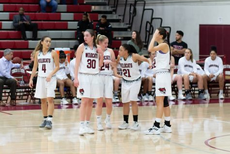 From left to right: junior Madison Wong (All-CCAA and had 10.8 points a game), freshman Mikaila Wegenke (13.7 min. per game and 4.1 points per game), sophomore Vanessa Holland (28.6 min. per game and 7.1 points per game), sophomore Shay Stark (All-CCAA and 11.4 points per game), senior Natalie Valenzuela (last season and 10.5 points per game). Photo credit: Maury Montalvo