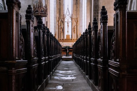 The interior of a Catholic church. Image from StockSnap.