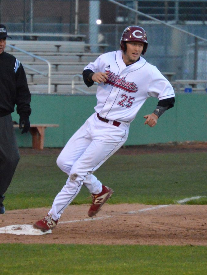 Dustin Miller reaches third base against San Marcos on April 5, 2019. Photo credit: Olyvia Simpson