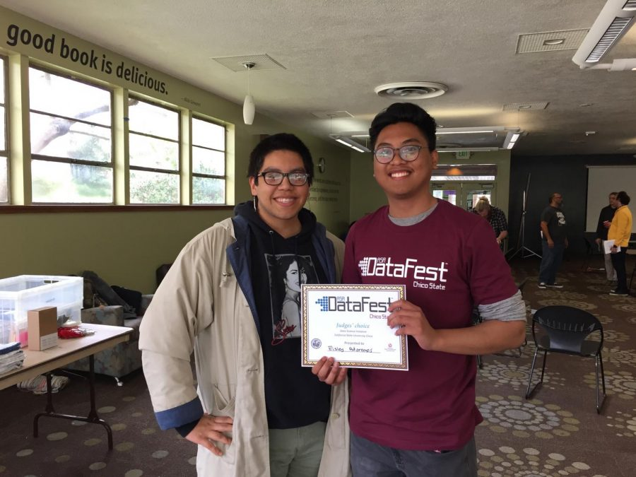 Chico State Students Eduardo Gomez (left) and Eisley Adoremos (right) showing their Judge's Choice award Sunday afternoon at the Data Fest competition at Sylvester's Cafe. Photo credit: Nate Rettinger