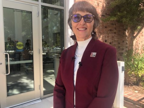 Gayle Hutchinson pauses before the fall convocation on August 26 at Chico State. Photo credit: Natalie Hanson