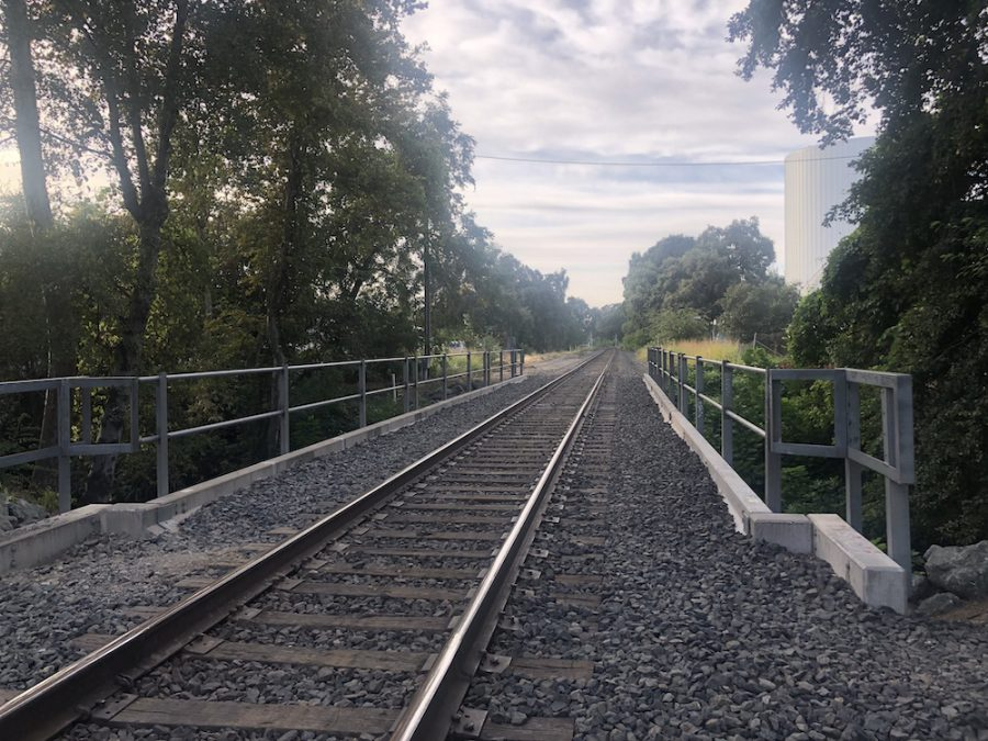 Railroad north of W. 1st Street where a pedestrian was hit by a train on Saturday at around 9:40 p.m. Photo credit: Ricardo Tovar