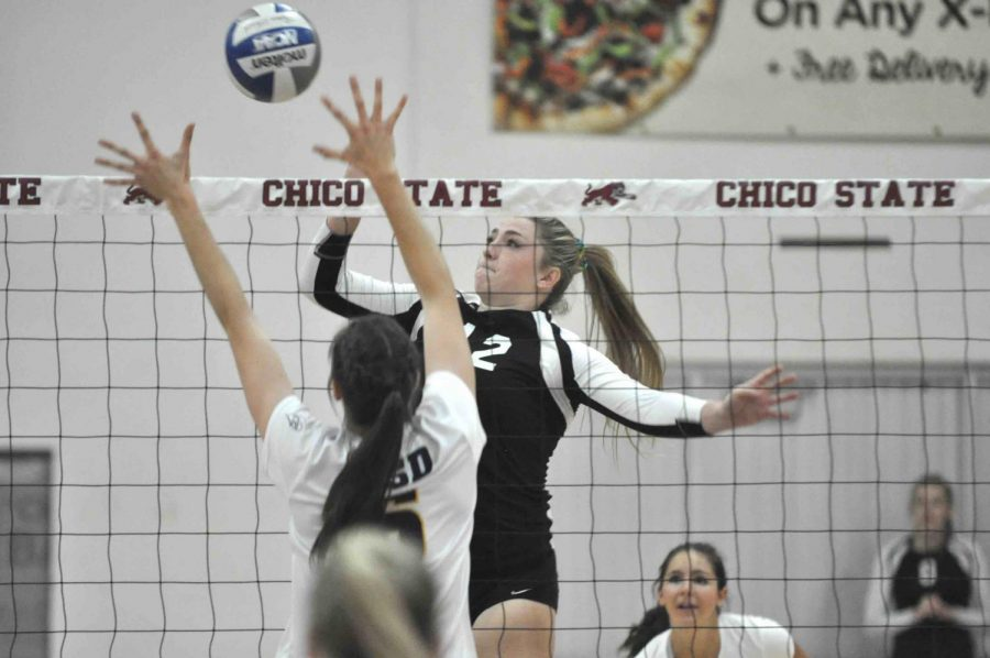 Makaela+Keeve+spiking+the+ball+in+home+game+at+Acker+Gym.++Photo+Courtesy+of+Chico+State+Sports+Information.