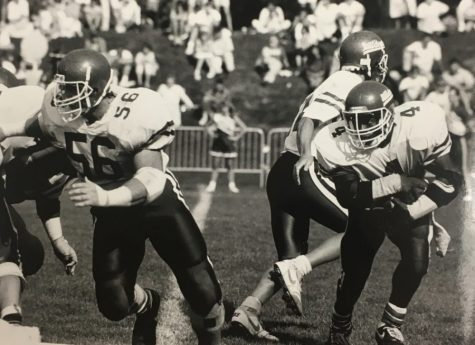 Chico State running back Glenn Witherspoon takes a handoff during the 1987 season. Image from The Orion vault.