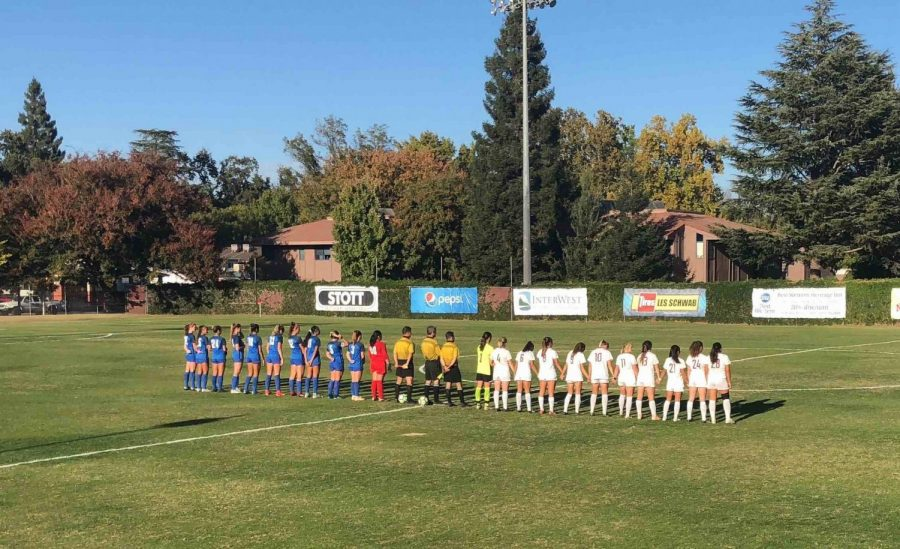 Chico State standing for the national anthem in their game against California State University, San Marcos. Oct. 25, 2018. Photo credit: Lucero Del Rayo-Nava