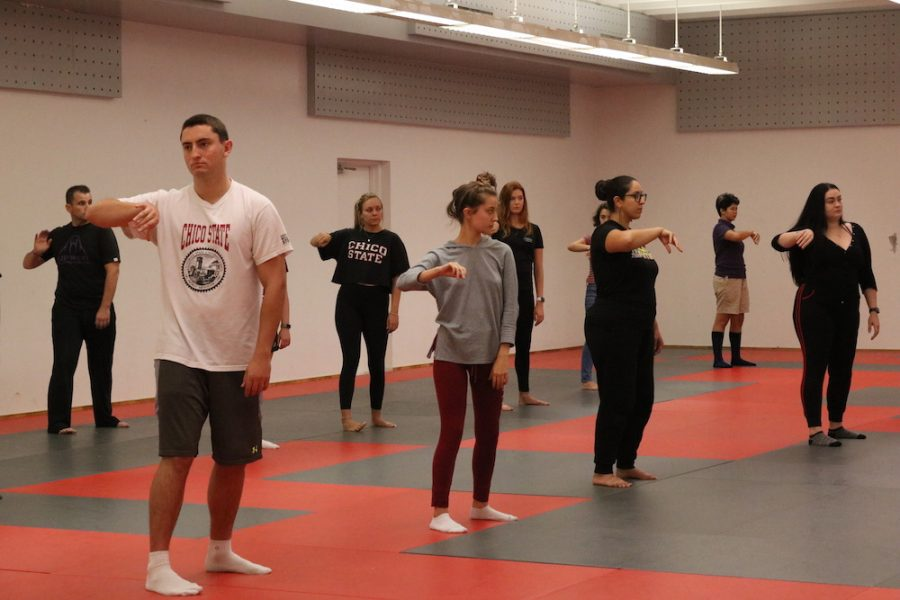 Students move their arms and bodies during class. Photo credit: Melissa Herrera