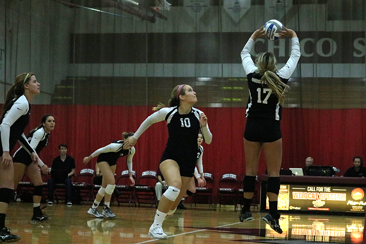 Volleyball team in a home game in this archive photo. Photo credit: Jovanna Garcia