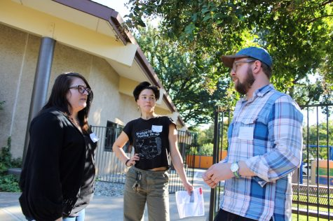 The Sacramento Tenants Union from left to right: Erica Jaramillo, Chad Osborn and Elliot Stevenson. Photo credit: Julian Mendoza
