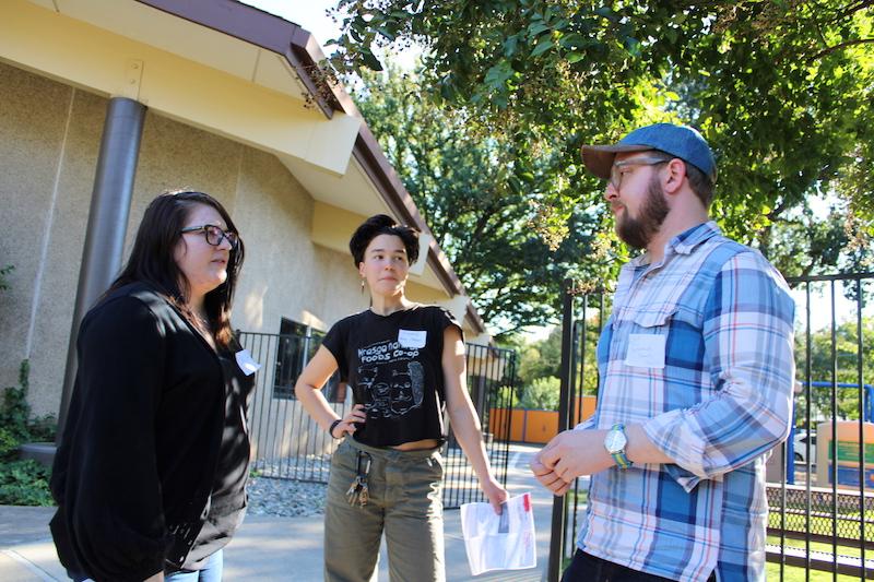 The Sacramento Tenants Union from left to right: Erica Jaramillo, Chad Osborn and Elliot Stevenson. Photo credit: Julian Mendoza