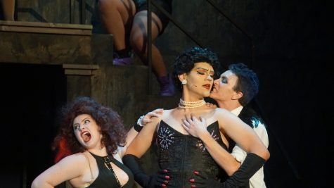Left to right: Magenta (Makenzie Ryan), Dr. Frank N' Furter (Juan Bolaños), and Riff Raff (Brandon Burchard). Photo credit: Angel Ortega