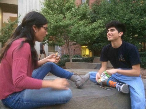 Tzanda Mendes and Nathan Zamudio wait for the film to start outside The Hub. Photo credit: Emily Neria