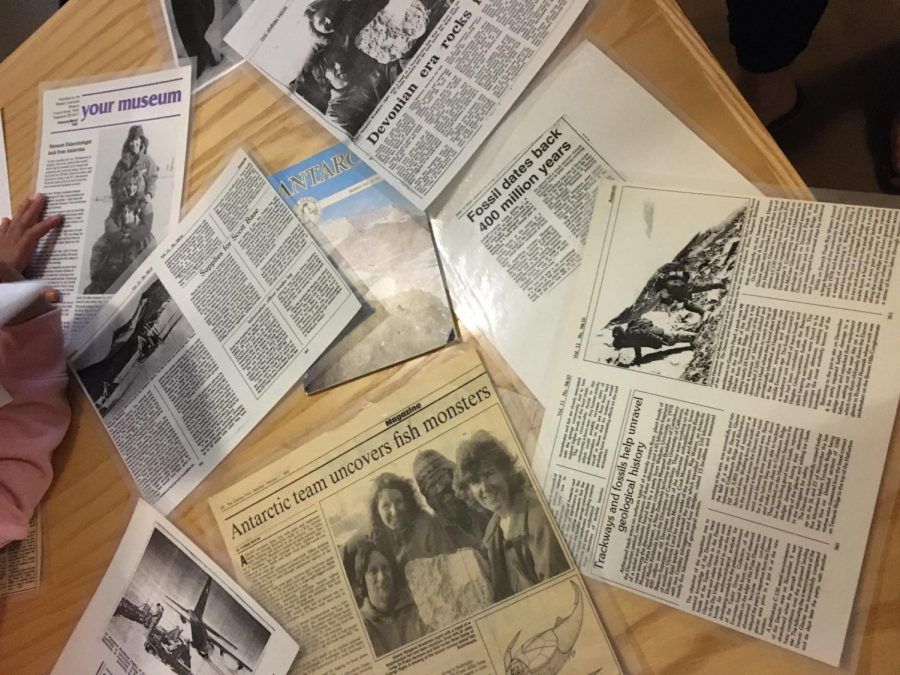 Newspaper clippings recounting the expedition findings. Photo credit: Melissa Joseph