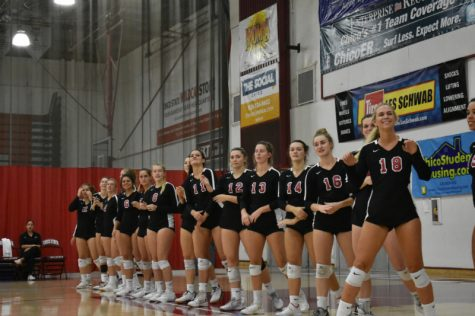 Chico State volleyball team in Acker Gym about to face off against Humboldt State. Oct. 5, 2019 Photo credit: Hana Beaty