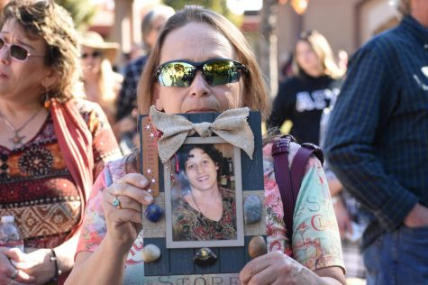 Marge Nelmes came to Chico City Plaza to remember her best friend, Lolene Rios of 46 years who passed away during the fire. Photo credit: Kimberly Morales