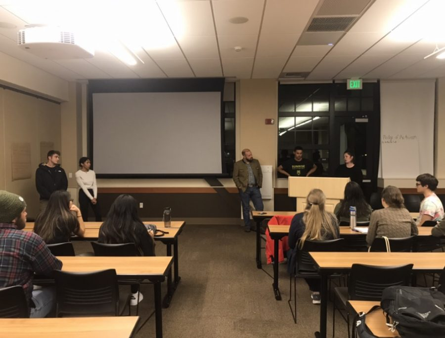 Students gathered in Colusa to listen to different speakers talk about how to be an activist for the climate change movement. Photo credit: Jessie Imhoff
