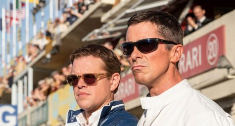"Matt Damon and Christian Bale star as Carroll Shelby and Ken Miles, respectively in ""Ford v Ferrari.""  Courtesy of Fox Movies."