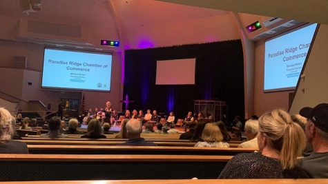 People gathered for the Paradise Ridge Chamber of Commerce meeting Tuesday. Photo credit: Jack Lewis