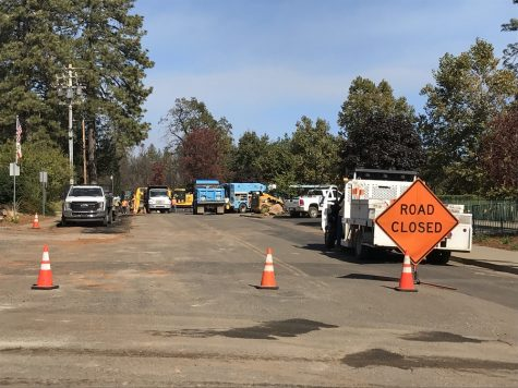 PG&E crews working on moving electrical lines underground on Black Olive Drive, near the Paradise Fire Department, in Paradise, California. Photo credit: Angel Ortega