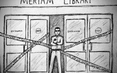 Police deny students information on library public safety. Photo credit: Melissa Joseph