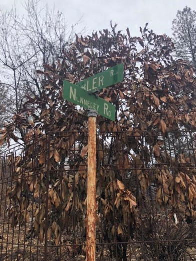 The street sign on the corner of Kibler and Nunneley roads post Camp Fire. Photo credit: Trenton Taylor