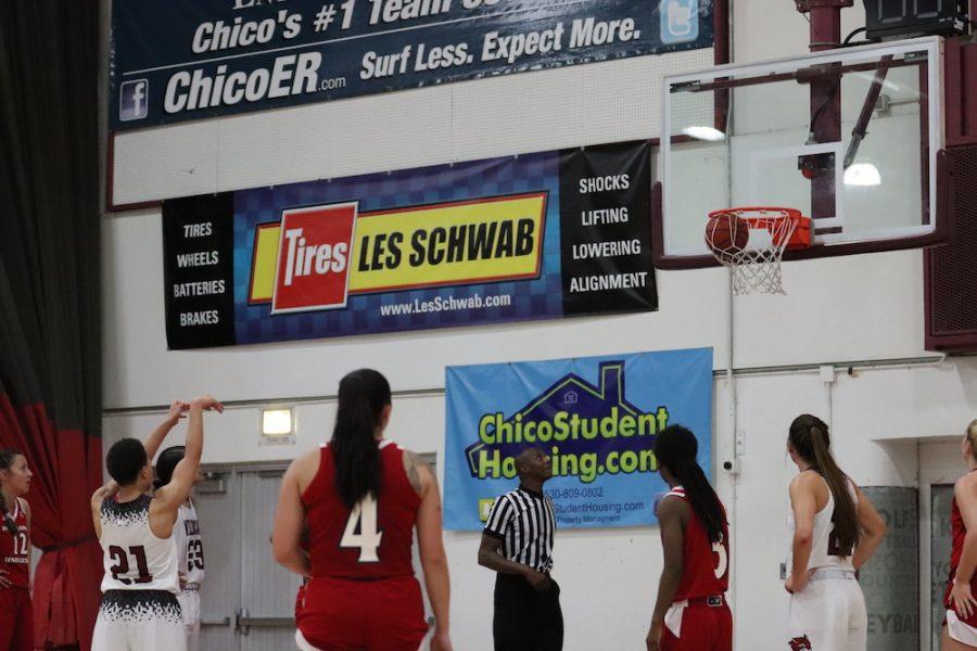 Shay Stark shooting a free throw against Holy Names University. Photo credit: Melissa Herrera