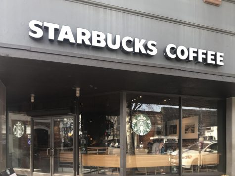The outside of the downtown Starbucks