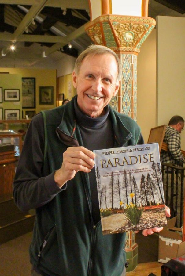 "Douglas Keister showcasing his book ""People, Places & Pieces of Paradise '' at the Chico History Museum."