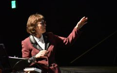 Gayle Hutchinson presents information during her presidential address in the Performing Arts Center at Chico State.