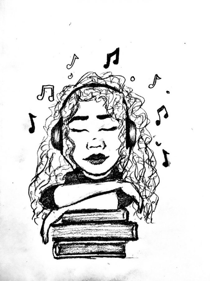 Illustration of a girl listening to music while studying
