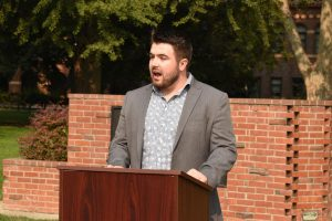 Chico State Republicans President Michael Curry announced the call for the termination of employment and more against assistant professor Lindsay Briggs. Photo taken Sept. 17, 2020.