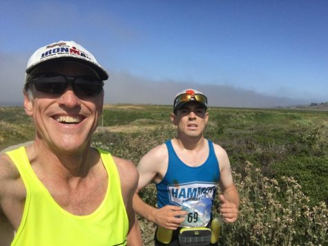 Alex Martin and his dad Jeff running a marathon in Santa Cruz, Calif in May 2017.