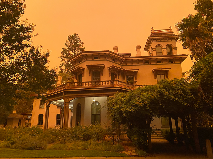 Smoke from North Complex Fire over Bidwell Mansion, Sept. 9, 2020