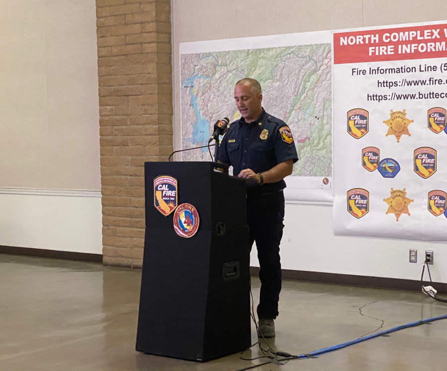 Butte County Sheriff's Office Captain Derek Bell reports from Silver Dollar Fairgrounds about the North Complex Fire