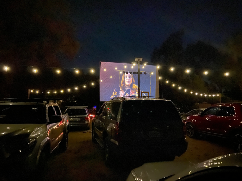 The film portions of the event were displayed on a outdoor 20x 30 screen