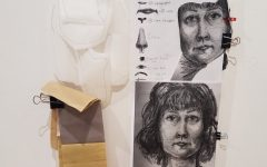 Shelley is using a drawn version of her self portrait to help guide her as she creates a new one using fabrics.