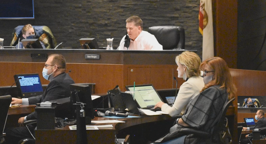 Council member Sean Morgan and City Clerk Deborah Presson can be seen at Tuesday meeting without a mask.