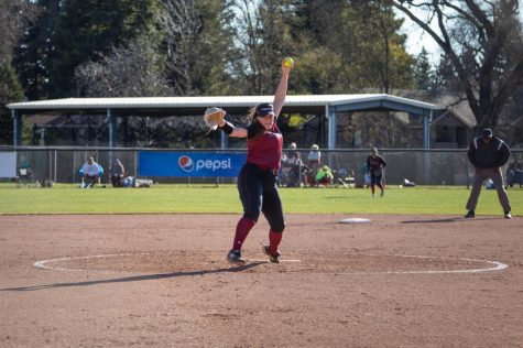 #6 pitcher Sam Mulock winds up for a pitch in a softball game at Chico State