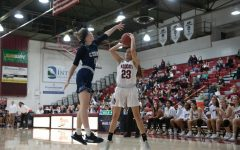 #23 Haley Ison goes up for a shot in a basketball game at Chico State (Ryan McCasland/Chico State Sports Information)