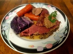 kAren's corned beef and cabbage, brought to you by the Gastrocat.