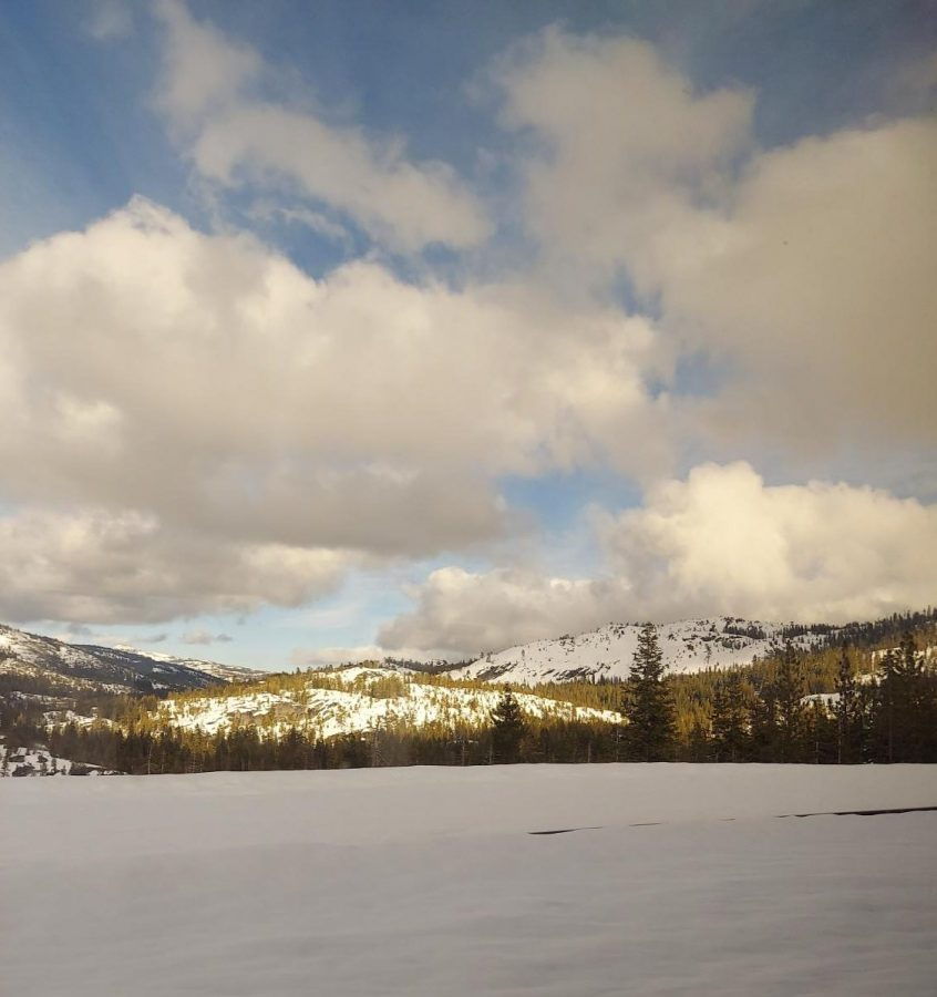 Snow in the Sierras on the train ride to Reno.