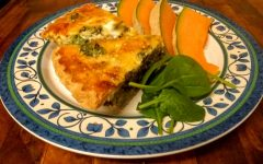 Springtime quiche calls for springtime sides - light salad and cantaloupe. Photo by Ian Hilton, 4/12/2021.