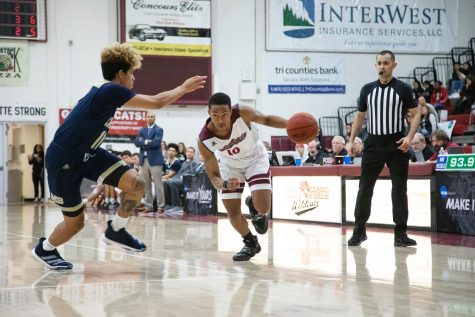 Chico State Guard Joshua Curls drives with the ball in a basketball game.