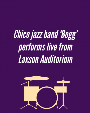 "The jazz quintet known as ""Bogg"" performed from inside Laxson Auditorium on April 2 in a Chico Voices virtual event."